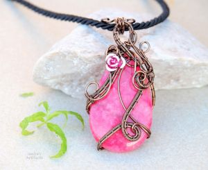 Rhodochrosite wire wrapped pendant by IanirasArtifacts