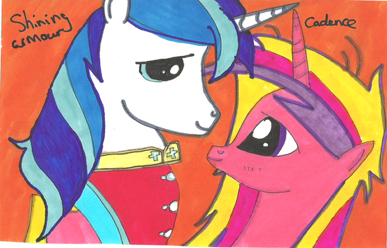 Shining Armour and Cadence by quaser-gaara