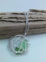Wire Wrapped Scottish Seaglass Nest Pendant by cunningcatcrafts
