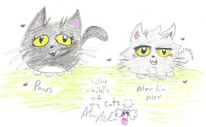 Chibi drawings of my cats by Kittychan2005