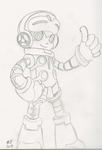 Mighty No. 9: Beck (lineart) by SpongeDudeCoolPants