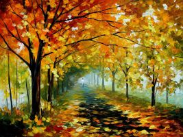 Light in the fog by Leonid Afremov by Leonidafremov
