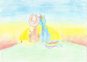 Applejack and Rainbow Dash sunset by IceColdWulf