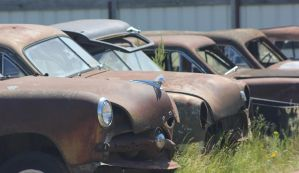 Row of rusted cars by finhead4ever