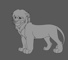 Male Teen Lion Lineart by Tamnyan