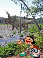 A boy, a girl, and a dinosaur in a marshland by timbox129