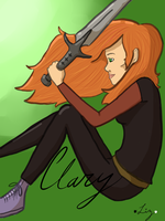 Clary with the Morgenstern sword by FiveSecsOfLiz