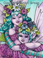 Hugging Fairy Sisters ACEO by candcfantasyart