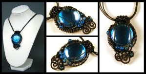 blue glass necklace by annie-jewelry