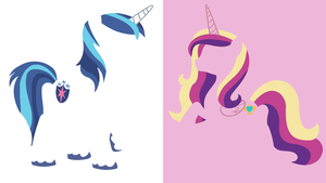 Shining Armor and Cadence Minimalistic Wallpaper by Kitana-Coldfire