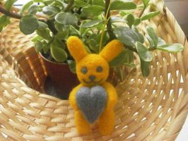 Needle felted yellow rabbit charm by Panda-Devil