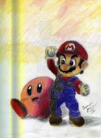 Mario and Kirby by juicethehedgehog