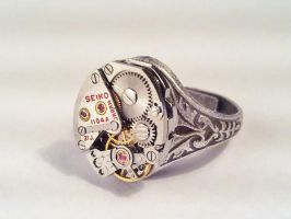 Seiko Steampunk Silver Ring by SteamDesigns