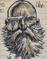 Odin, a cool sketch i did during a meeting. by profesone