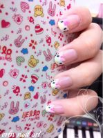 hello kitty nail art by crln9502
