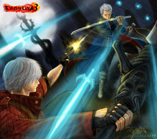 Dante Vs. Vergil by Saver-Blade