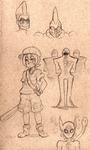 Earthbound Sketches/Concepts 2 by LunaeZomi