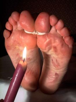 sexy feet tortured with a wax by devilinquisitor
