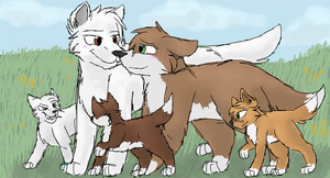 Erol, Kit and their pups by CascadingSerenity