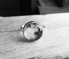 Handmade Resin Black and White Moon Silver Ring by crystaland