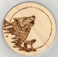 Wolf pyrograph coaster by Everild-Wolfden