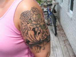 half sleeve of flowers by theothertattooguy