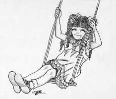 Hinako on a swing by RaspberryHunter
