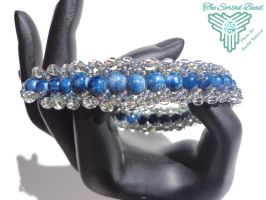 Beaded Flat Spiral Bracelet, Blue Marbled by TheSortedBead