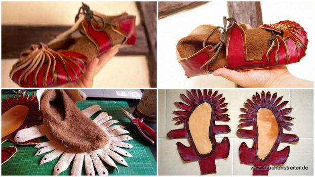 Sandals / Leather felt shoes combination 3/3 by SchmiedeTraum
