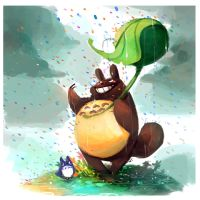 Totoro rainbow rain and other things by Tigermint