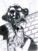 Venom and Peter by spidershag