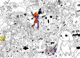 A ton of digimon_colab by AmaltheaTwin
