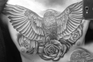 Raven Chest Tattoo with roses by mystone