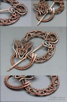 Snakey-fox copper brooch by scargeear