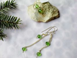 Green glass earring and ring by Mirtus63