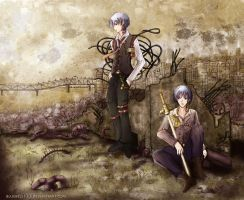 Steampunk Vampire Hunter Twins-The Kiryuu Brothers by BlueBell-Sumi