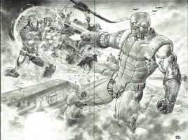 Deathlok vs Iron Man by thepunisherone