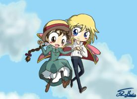 Chibi Howl and Sophie by rue789