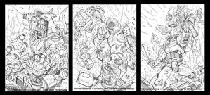 Transformers Legends Dinobots sketches by MarceloMatere