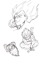 Vegeta collecting Dragonballs by VegetasLittleLover
