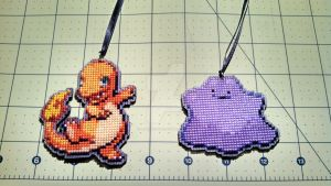 #004 and #132: Charmander and Ditto Complete by bobcrochets