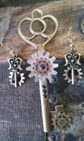 Steampunk: Earrings and soon to be Necklace by ShiftyCheesecake