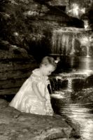 Pixie on the Falls BW by GMCPhotography