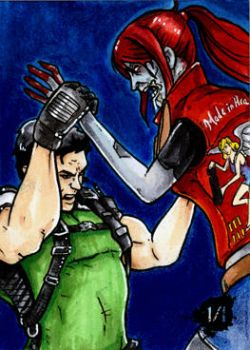 Chris Redfield vs Claire Redfield Zombie by Christopher-Manuel