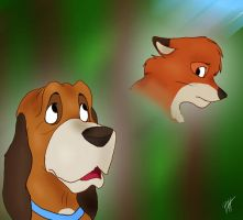 The Fox And The Hound by RainSongWolf