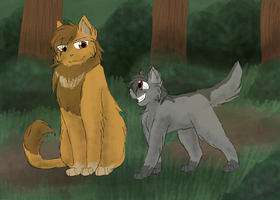 Lionheart and Graypaw by CascadingSerenity