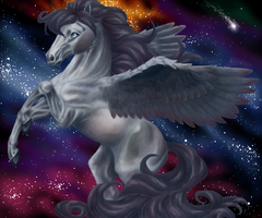 Pegasus for So-naa- starry bg by psychopony