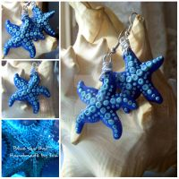 Blue sea star Polymer clay by SweetIva