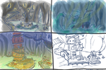 Coloured Cave Town concepts by serkunet