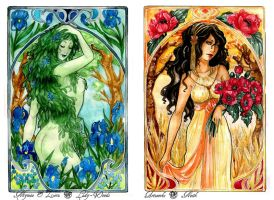 - COMMISSION - Art Nouveau - Spring and Summer by ooneithoo